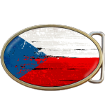 Czechoslovakia Grunge Czech Republic Flag Belt Buckle. Code A0037